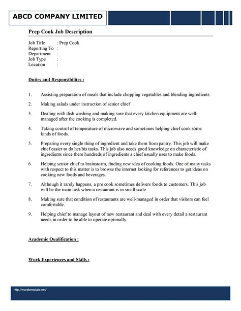 Exle Resume Cook Position Prep Cook Description Template Free Microsoft Word Templates