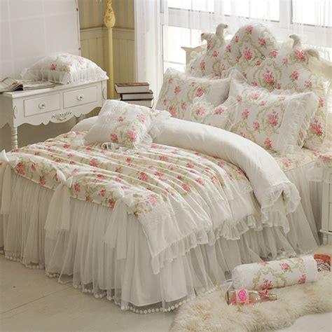 full bed comforters floral printing lace princess bedding set wedding twin