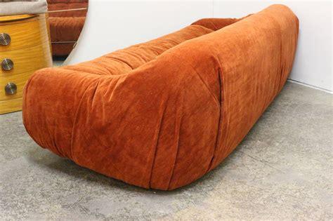 orange velvet sofa groovy orange velvet sofa in the style of tobia scarpa at