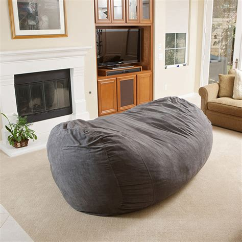 Bean Bag Living Room | david gray faux suede 8 foot lounger bean bag modern