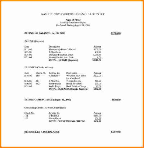non profit monthly financial report template 11 treasurer report template cashier resume