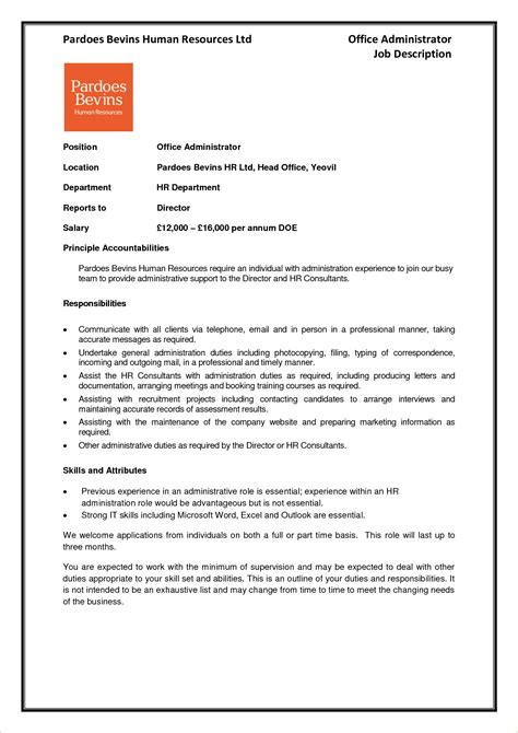 administrator job description template business proposal