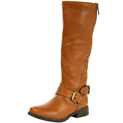 womans shoe boots womens boots flat heel brass zipper faux leather