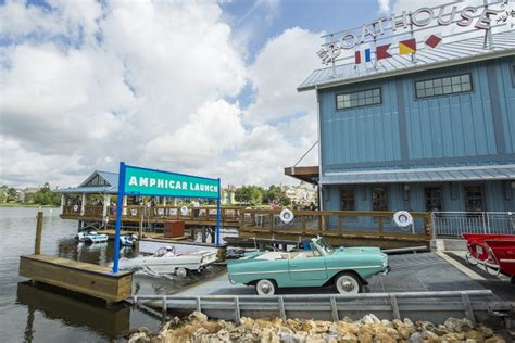 boat launch disney springs car drives into the lake at downtown disney in walt disney