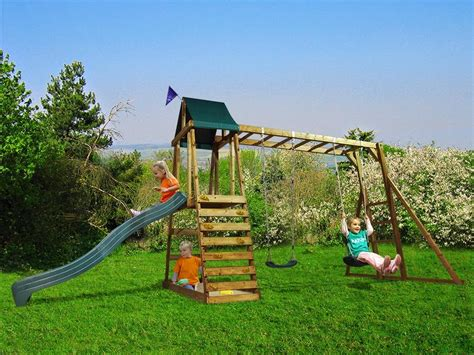 swing set with rock climbing wall wooden climbing frame children s swing slide sets sandpit