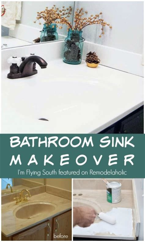 bathroom sink makeover painted bathroom sink and countertop makeover