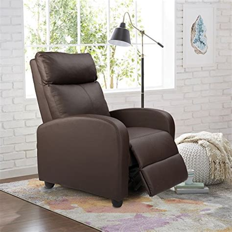 homall manual recliner chair padded pu leather home