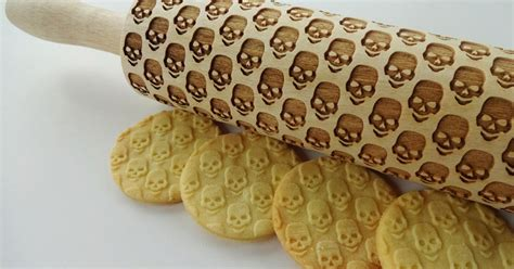 pattern dough roller make skull cookies with this laser engraved wood rolling pin