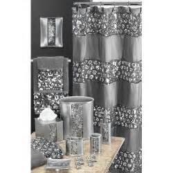 Bling Bathroom Set by Sinatra Silver Glitter Waste Basket Set