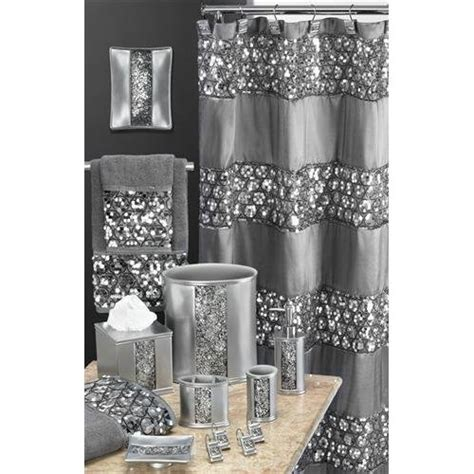 bling bathroom set amazon com sinatra silver glitter waste basket set