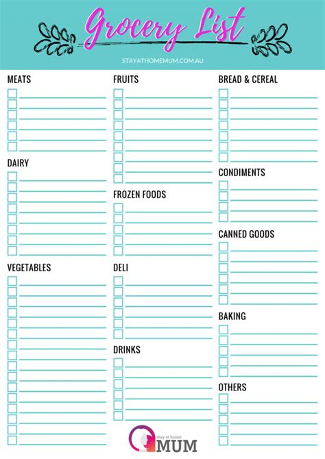 printable australian grocery list customisable grocery shopping list a free printable