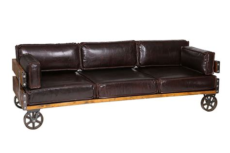 Leather Industrial Sofa With Wheels Royal Black Akku