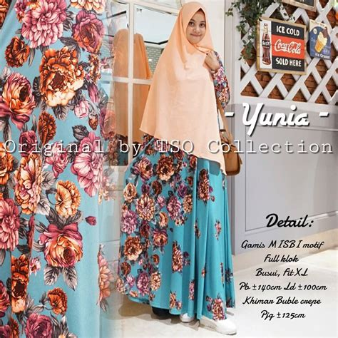 Gamis Syari Yunia Gamis Motif Bunga Yunia Syari Baju Muslim Modern