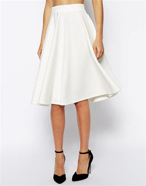 asos midi skirt in scuba with pockets in white lyst
