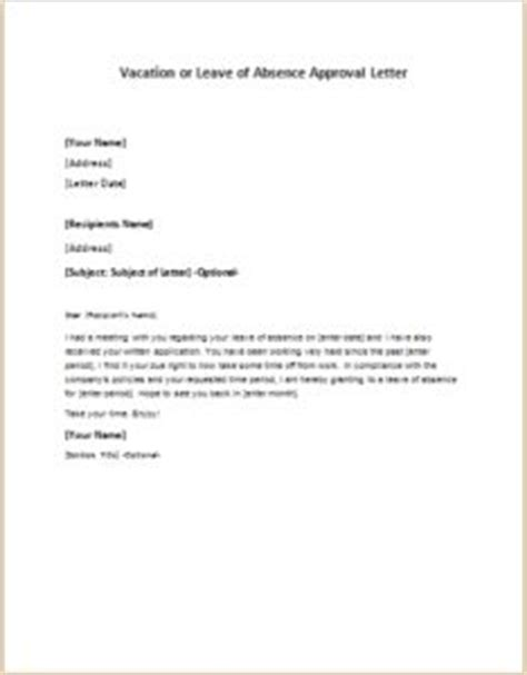 leave of absence letter vacation or leave of absence approval letter at 1355