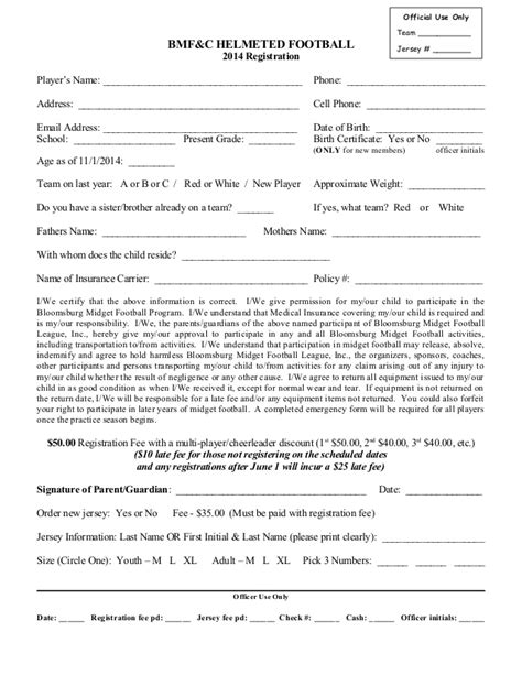 Registration Form 2014 Football C Registration Form Template