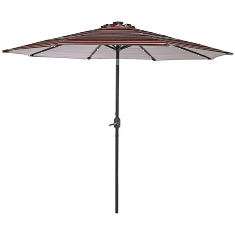 9ft Patio Umbrella Solar Patio Umbrella W Tilt Crank 9 Ft Aluminum Solar Leds Colors Ebay