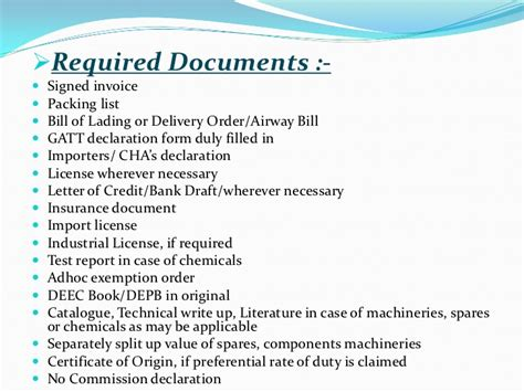 Letter Of Credit Documents Checklist Ppt Of Custom Procedure 001