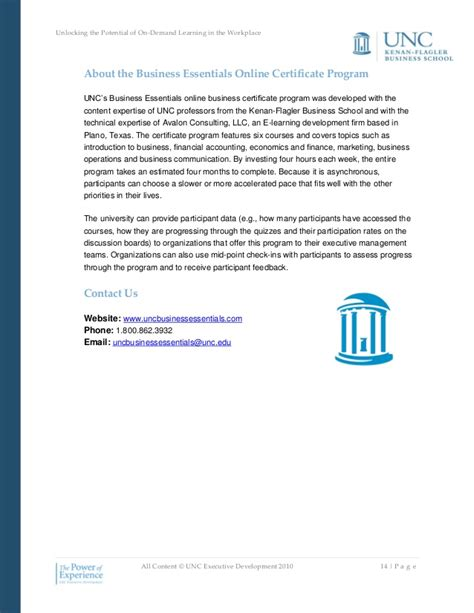 Unc Mba Program Cost by Unlocking The Potential Of On Demand Learning In The Workplace