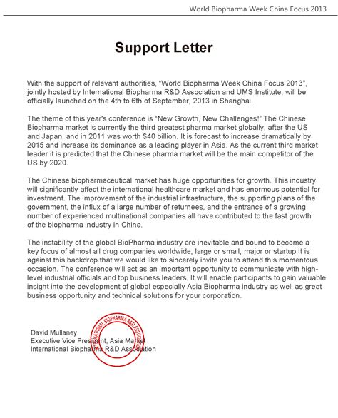 Support Letter Visa World Biopharma Week China Focus 2013