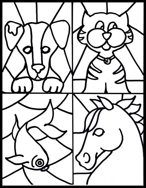 great animal stained glass coloring pages with stain glass