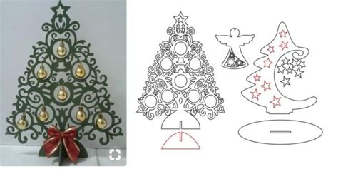 christmas trees and angel cdr dxf vectors laser artcam