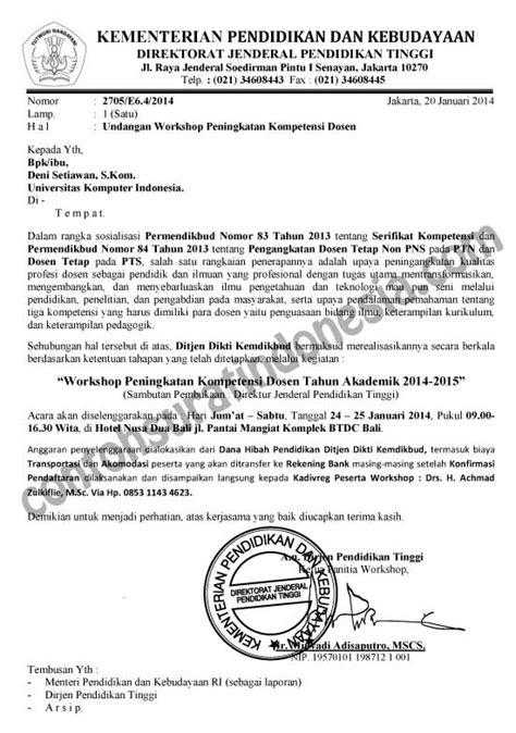 Contoh Notulen Rapat Osis Dengan Kop Surat by Contoh Surat Undangan Workshop Secara Resmi Surat Undangan