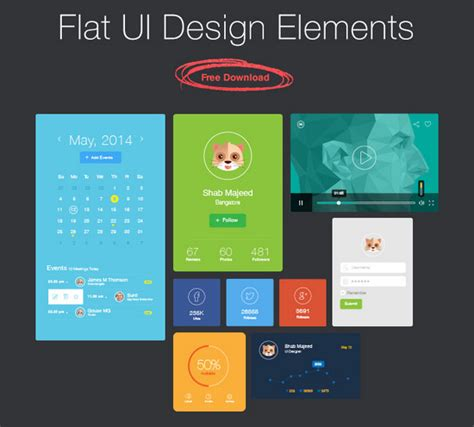 flat design ui elements late breaking 29 free vibrant flat ui packs noupe