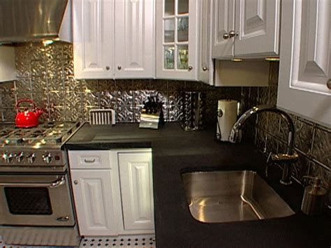 Tin Backsplashes For Kitchens how to install ceiling tiles as a backsplash hgtv