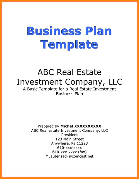 5 pictures of business plan cover page address exle