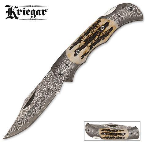 bone handle knives kriegar pocket knife damascus blade burnt bone handle kennesaw cutlery