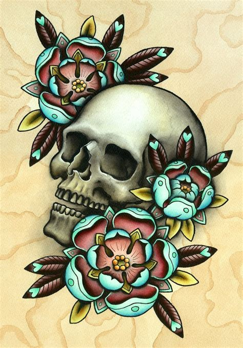 skull with flowers tattoo designs skull flower designs best designs