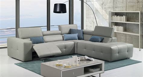 leather sofa sectional recliner grey italian leather tufted sectional with recliner