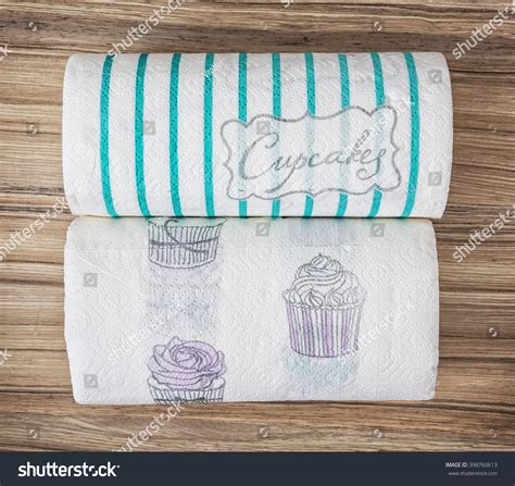 decorative paper towel rolls two decorative kitchen paper towel rolls stock photo