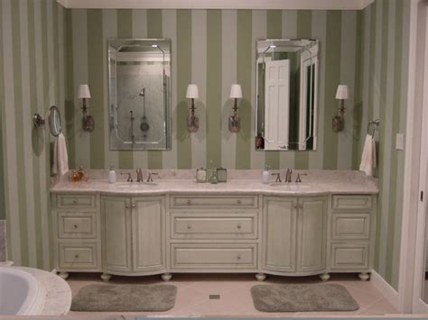 master bath with painted stripes and glazed cabinets
