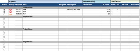 project status sheet template free excel project management templates