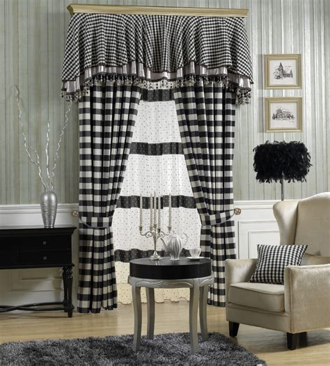 Black And White Checkered Curtains Black And White Check Curtain Fabric Curtain Menzilperde Net