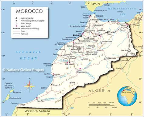 world map of morocco capital morocco map