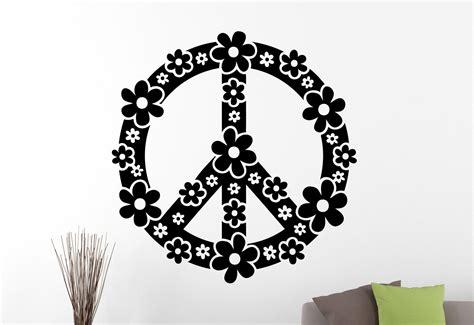 peace sign flowers custom name vinyl wall decor mural floral peace sign wall decal peace symbol sticker flower vinyl
