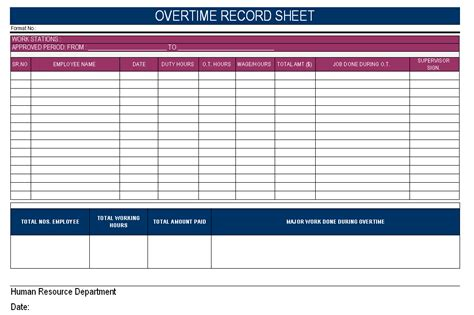 overtime record sheet format sles word document