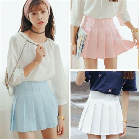 Set Nazla Mini Dress Korea 2017 high waist denim pleated skirts harajuku