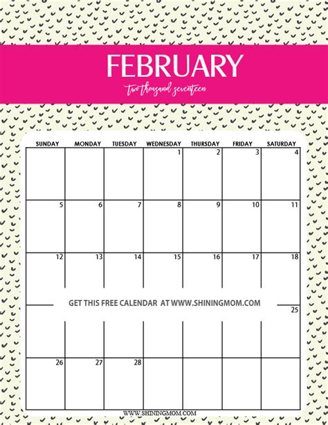 printable calendar cute 2017 fun and cute 2017 calendar printable