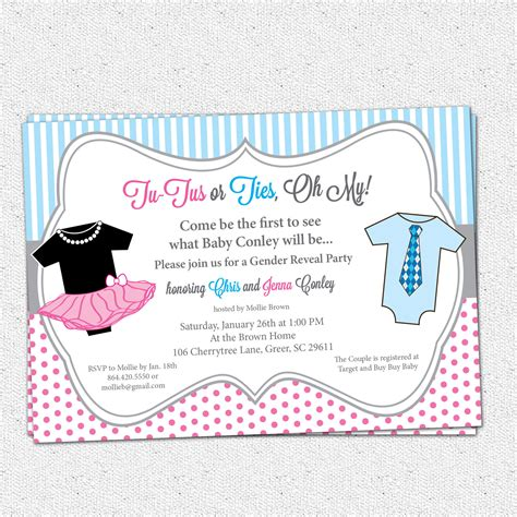 Gender Reveal Party Invitations Template Best Template Collection Gender Reveal Invitation Template