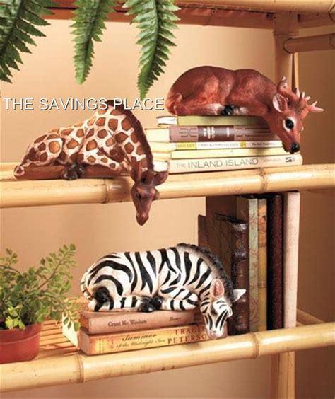 Giraffe Statue Home Decor safari animal detailed zebra giraffe deer shelf sitter