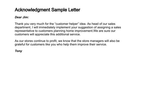 how to write a letter of acknowledgment
