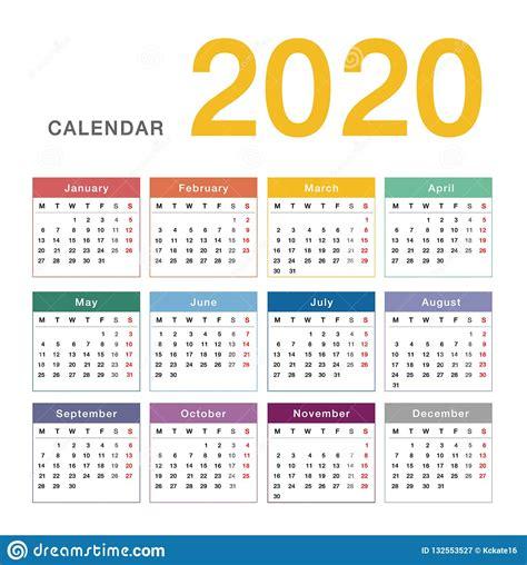 colorful calendar year  vector design template simple  clean design stock vector