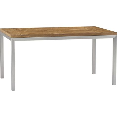 Dining Table With Stainless Steel Top Teak Top Stainless Steel Base 60x36 Parsons Dining Table In Dining Tables Crate And Barrel