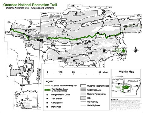 ouachita national forest map ouachita trail wilhelmina to mt arkansas