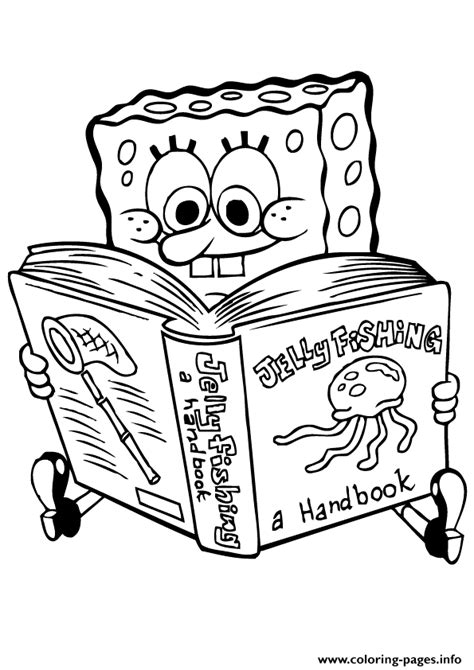 printable reading images spongebob reading book coloring page8e21 coloring pages