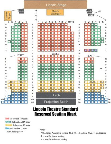 lincoln theater seating seating chart lincoln theatre